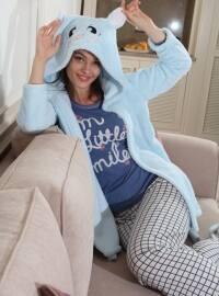 3`lü Sabahlıklı Wellsoft Pamuklu Pijama Takımı - Mavi - Siyah inci