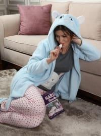 3`lü Sabahlıklı Wellsoft Pamuklu Pijama Takımı - Mavi Pudra - Siyah inci