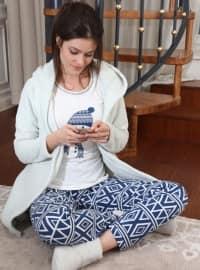 3`lü Sabahlıklı Wellsoft Pamuklu Pijama Takımı - Mavi- Siyah inci