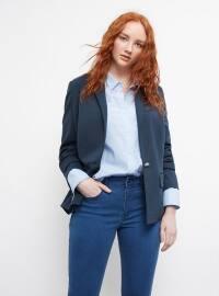 Astarlı Gündelik Blazer Ceket - Koyu Mavi - Violeta by Mango