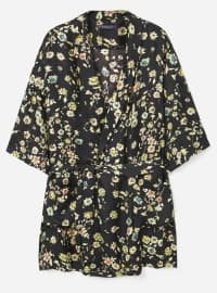 Black - Floral - Unlined - V neck Collar - Topcoat