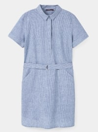Unlined - Point Collar - Stripe - Blue - Dresses