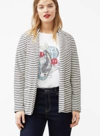 Black - Ecru - Stripe - Unlined - Shawl Collar - Jacket