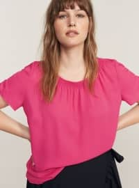 Red - Boat neck - Blouses