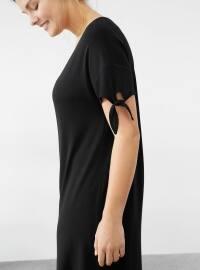 Düğüm Detaylı Kontrast Elbise - Siyah - Violeta by Mango