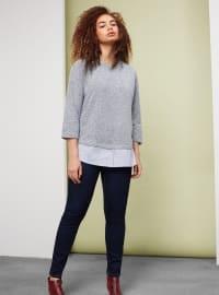 Etek Ucu Gömlek Kesim Sweatshirt - Lacivert - Violeta by Mango