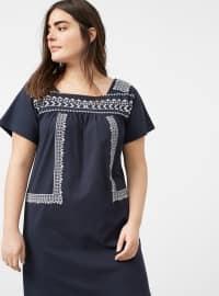 Navy Blue - Sweatheart Neckline - Unlined - Dresses