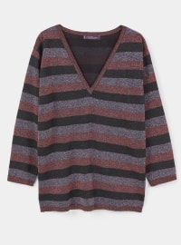 V neck Collar - Stripe - Maroon - Black - Jumper