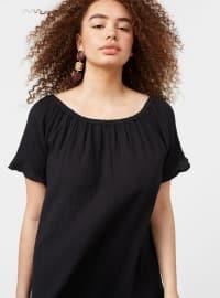 Black - Boat neck - Unlined - Cotton - Plus Size Dress