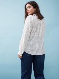 Ecru - Polka Dot - V neck Collar - Blouses
