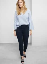 Yüksel Bel Tania Tayt Pantolon - Mavi Siyah - Violeta by Mango
