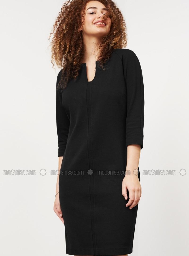 schwarz - v-ausschnitt - mit innenfutter - hijab kleid