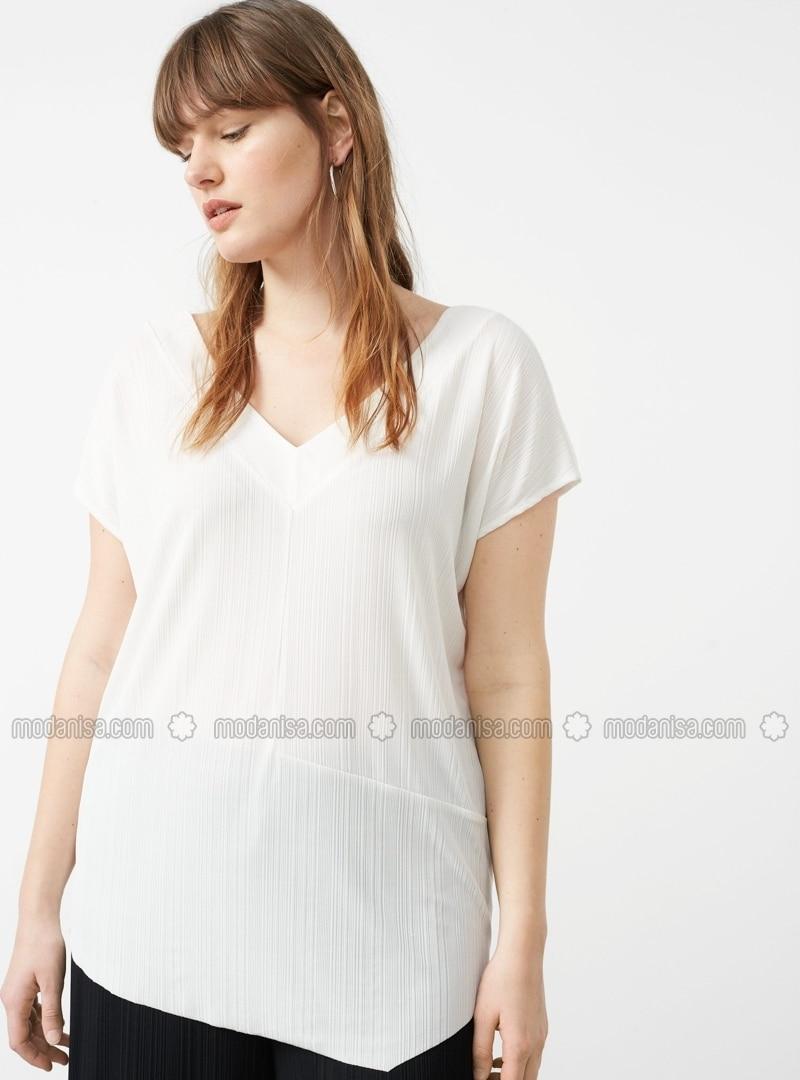 White - V neck Collar - Tank