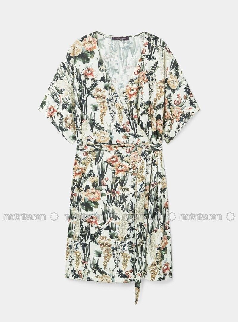 Ecru - Floral - V neck Collar - Unlined - Dresses