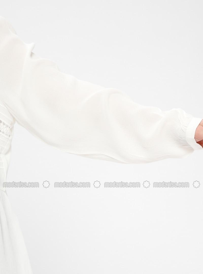 bf4ca2c1f1d White - Crew neck - Viscose - Plus Size Blouse