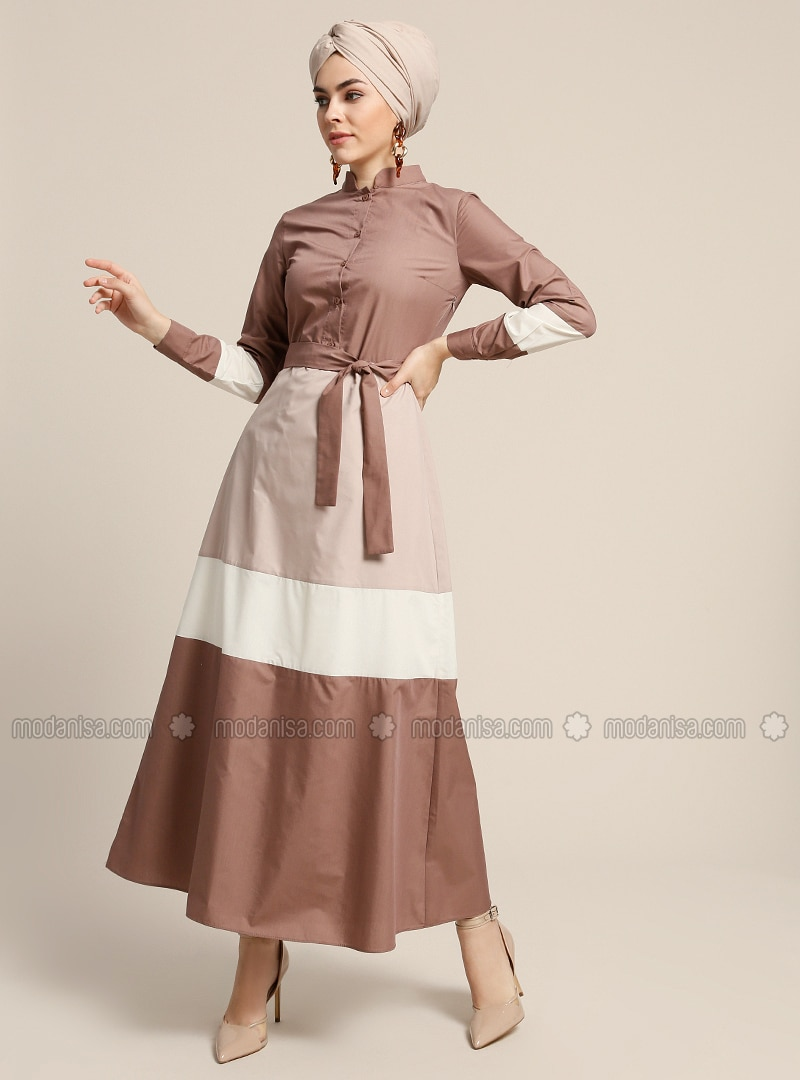 Brown - Crew neck - Fully Lined - Dresses