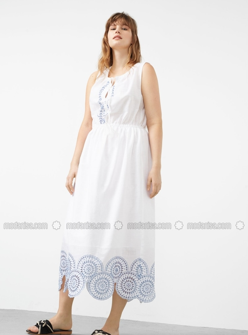 Fully Lined - Crew neck - Ecru - White - Cotton - Dresses