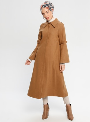 Tan - Fully Lined - Point Collar - Coat - Loreen By Puane