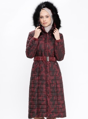 Maroon - Multi - Fully Lined - Polo neck - Coat