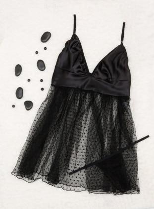 Black - V neck Collar - Nightdress - Siyah inci