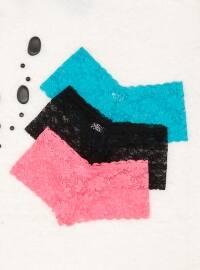 3`lü Dantelli Likralı Şort Külot - Somon Siyah Yeşil - Siyah inci