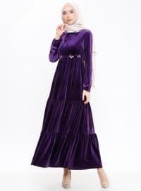 Nakışlı Kadife Elbise - Mor - Loreen By Puane