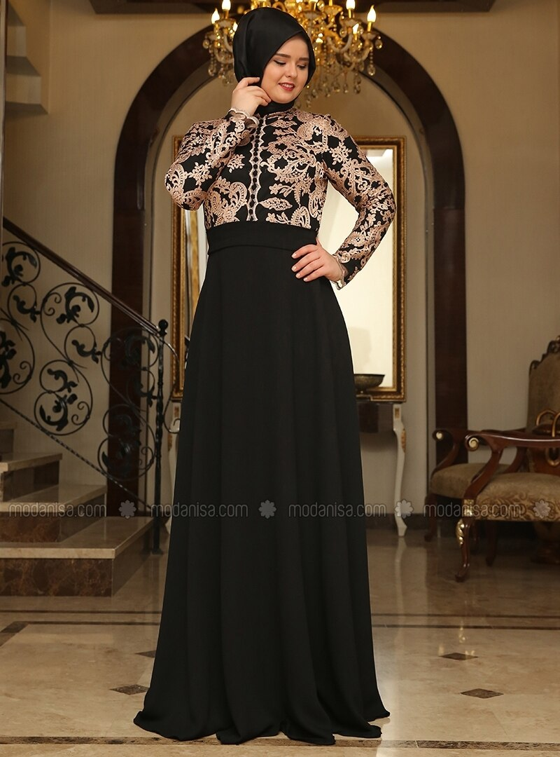 Salmon - Black - Multi - Fully Lined - Crew neck - Muslim Plus Size Evening Dress