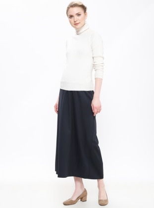 Navy Blue - Unlined - Maternity Skirt - Havva Ana