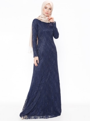 Navy Blue - Fully Lined - Crew neck - Muslim Evening Dress - Mileny 380171