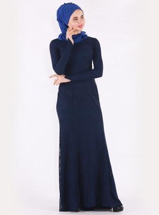 Navy Blue - Fully Lined - Crew neck - Muslim Evening Dress - Mileny 380171