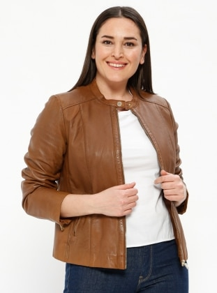 Tan - Button Collar - Fully Lined - Plus Size Jacket