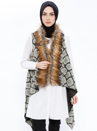 Black - Gold - Printed - Shawl