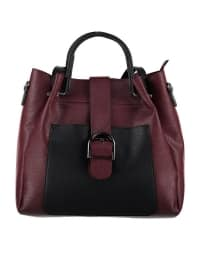 Çanta - Siyah Bordo - Housebags