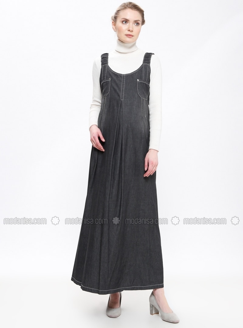 Black - Unlined - Denim - Maternity Dress - Havva Ana