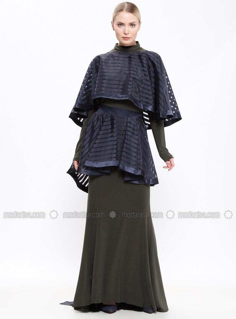 fb72ab70fc71e Shoptagr | Navy Blue Unlined Crew Neck Muslim Evening Dress Mia Rosa ...