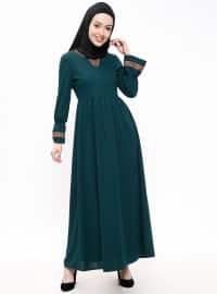 Nakışlı Elbise - Zümrüt - Miss Paye