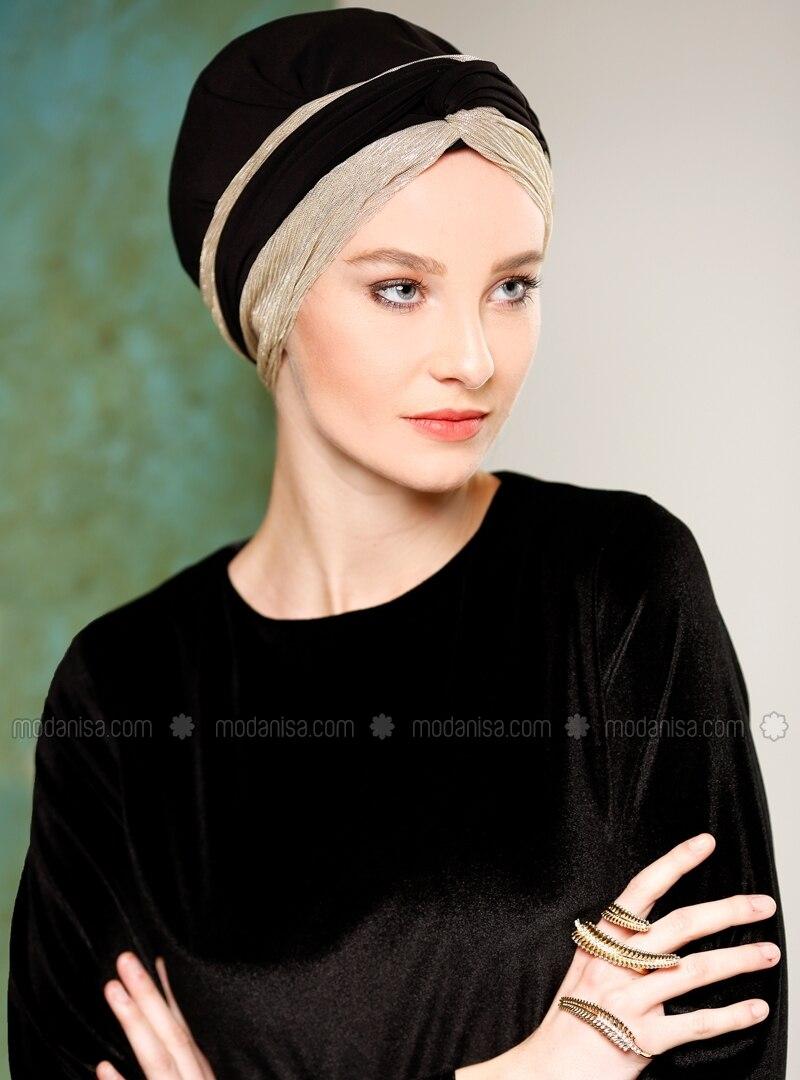 Black - Golden tone - Simple - Bonnet