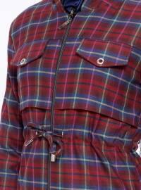 Maroon - Plaid - Unlined - Crew neck - Topcoat