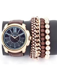 Bileklik Kombinli Saat - Kahverengi - American Exchange