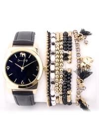 Bileklik Kombinli Saat - Siyah - Jessica Carlyle