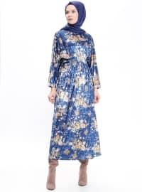 Desenli Kadife Elbise - Lacivert - Bezen