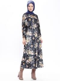 Desenli Kadife Elbise - Siyah - Bezen