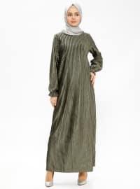 Kadife Elbise - Haki - Pardesü Dünyası
