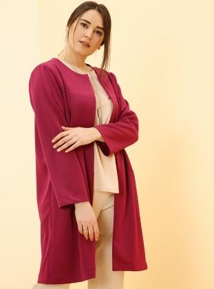 Pink - Unlined - Crew neck - Plus Size Coat