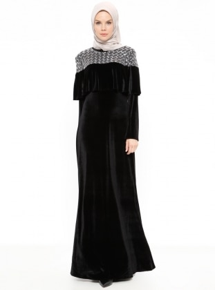 Black - Crew neck - Unlined - Dresses - Minel Ask 382610