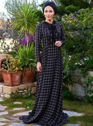 Black - Checkered - Crew neck - Fully Lined - Dresses