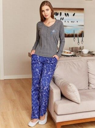 Saxe - Gray - Crew neck - Multi - Pyjama