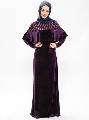 Purple - Crew neck - Unlined - Dresses - Minel Ask 382612