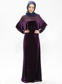 Reyhan Kadife Elbise - Mor- Minel Aşk