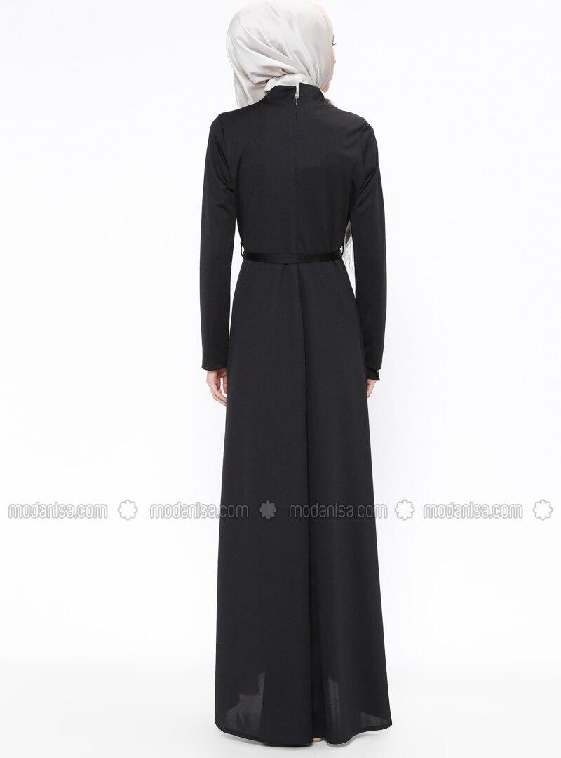 Noir col chinois tissu non double robe zenane for Robe col chinois